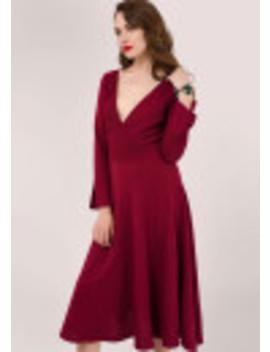 Maroon Long Sleeve Wrap Dress by Closet