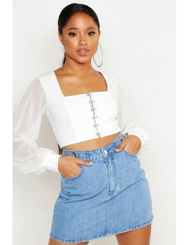 Hook And Eye Cropped Peasant Top by Boohoo