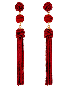 Bead And Ball Tassel Earrings by Accessorize