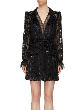 Lace Trim Pleated Metallic Leopard Devoré V Neck Mini Dress by Self Portrait