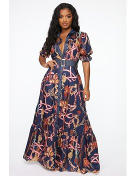 Manhattan Maxi Dress   Navy/Multi by Fashion Nova