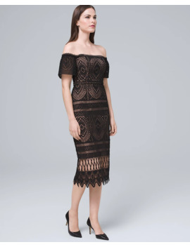 Off The Shoulder Black Lace Midi Dress by Whbm