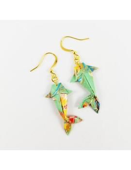 Mint Origami Koi Fish Earrings,Koi Fish Gifts,Koi Fish Jewelry,Paper Anniversary Gifts,First Anniversary Gift,Gift For Her,Koi Fish,Earrings by Etsy