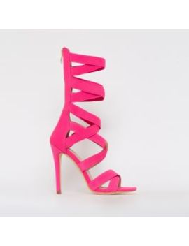 Astrid Neon Pink Strappy Stiletto Heels by Simmigirl