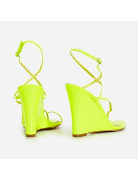 Melanie Toe Strap Wedge Heel In Lime Green Patent by Ego