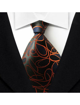 Men's Tie Classic Floral Black Orange Jacquard Woven 100% Silk Tie Necktie F061 by Unbranded