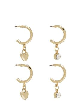 Diamante And Heart Mini Hoop Two Pack by Boohoo