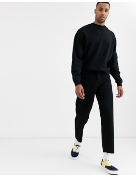 Asos Design Tall Oversized Sweatshirt With Utility Sleeve Pocket In Black by Asos Design