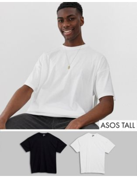 Asos Design Tall 2 Pack Oversized Fit T Shirt With Crew Neck Save by Asos Design