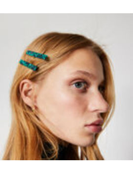 Green Marble 4 Pack Hair Clips by Warehouse