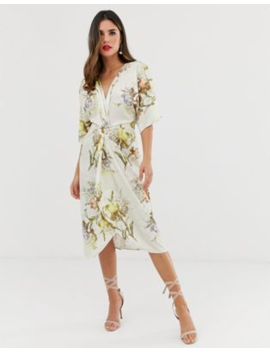 Hope &Amp;Amp; Ivy Knot Front Midi Dress In Summer Floral Print by Hope And Ivy