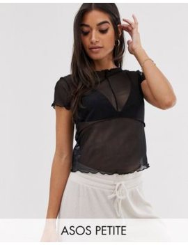 Asos Design Petite Top In Mesh With Cap Sleeve And Seam Detail by Asos Design