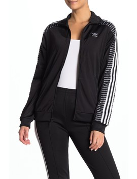 Striped Sleeve Zip Up Jacket by Adidas
