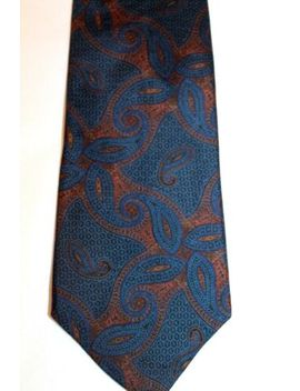 Guy Laroche Paris Monsier Tie Brown Blue Squares Paisley Euc 100% Silk by Guy Laroche