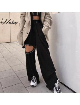 Weekeep Black Hollow Out Pants Women High Waist High Waist Trousers 2019 Spring Autumn Fashion Straight Pants by Ali Express.Com