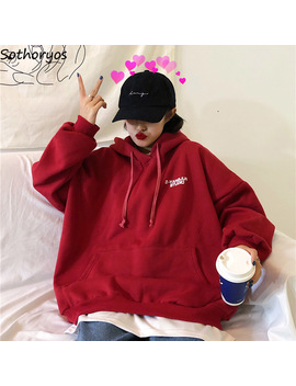 Hoodies Women Simple Letter Embroidered Pockets Trendy Students Womens All Match Retro Casual Ladies Pullovers Loose Sweatshirts by Ali Express.Com