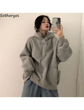 Hoodies Women Long Sleeve Oversize Hooded Letter Embroidered Plus Velvet Thicker Womens Sweatshirts Harajuku Korean Trendy Chic by Ali Express.Com