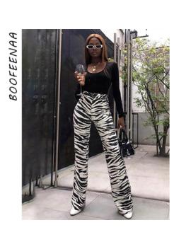 Boofeenaa Fashion Zebra Animal Print Wide Leg Pants Women Fall Winter Casual Trousers Sexy High Waist Bell Bottom Pants C55 Ac75 by Ali Express.Com