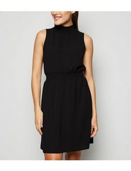 Black Shirred High Neck Dress by New Look
