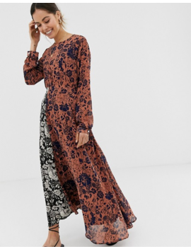 Ghospell Long Sleeve Midi Dress In Contrast Mix Match Print by Ghospell