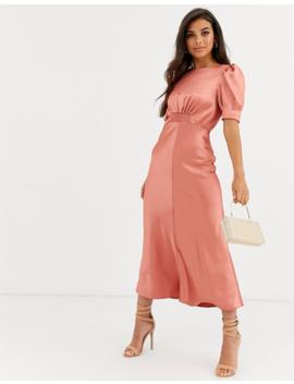 Asos Design Satin Midi Tea Dress by Asos Design