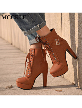 Mcckle Plus Size Ankle Boots Women Platform High Heels Female Lace Up Women's Shoes Buckle Woman Short Boot Ladies Footwear by Ali Express.Com