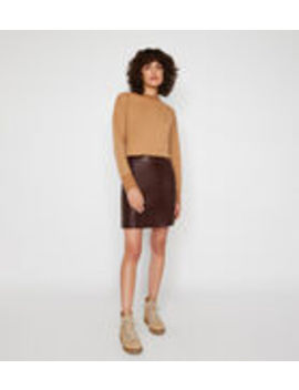 Faux Leather Seamed Mini Skirt by Warehouse