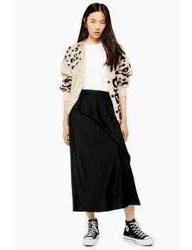 Black Drape Satin Bias Midi Skirt by Topshop