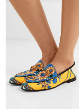 Jordaan Horsebit Detailed Leather Trimmed Printed Twill Loafers by Gucci