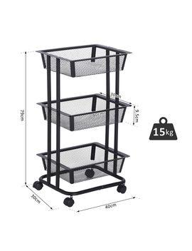 <Span><Span>3 Tier Metal Serving Trolly Rolling Utility Cart Basket Organiser Kitchen</Span></Span> by Ebay Seller