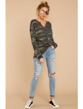 The Camo Green Waffle Split Neck Thermal by Z Supply