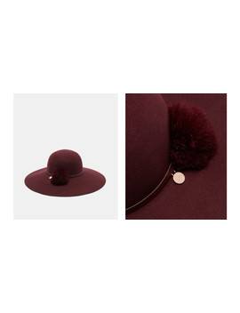 Feather Pom Pom Floppy Hat by Ted Baker