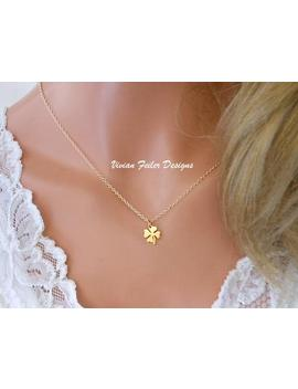 Clover Necklace 24 K Gold Celtic Minimalist Necklace Shamrock Jewelry Good Luck Charm 4 Leaf Clover Graduation Gift Bridal Shower Gift by Etsy