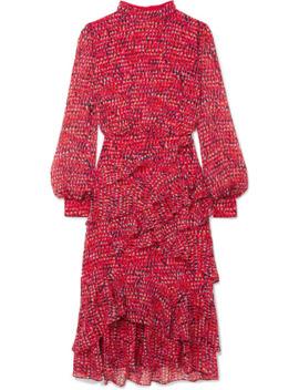 Isa Ruffled Printed Silk Chiffon Midi Dress by Saloni