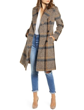 Plaid Double Breasted Coat by Kendall + Kylie