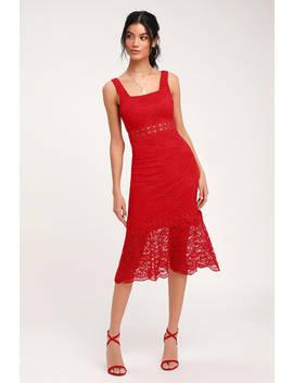 Vibrant Life Red Lace Trumpet Hem Midi Dress by Lulus