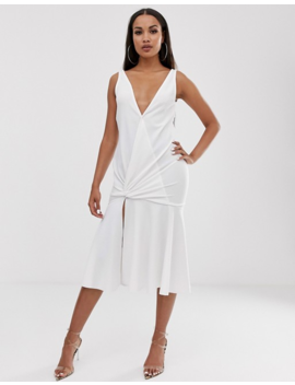 Asos Design Plunge Twist Detail Midi With Drop Waist by Asos Design