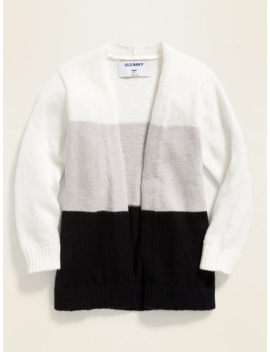 Color Blocked Open Front Sweater For Toddler Girls by Old Navy
