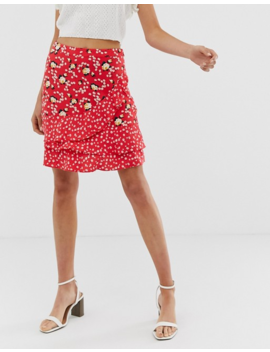 Oasis Tiered Skirt In Ditsy Floral Print by Oasis