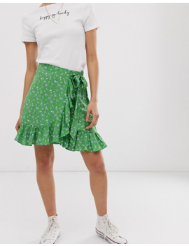 New Look Petite Ruffle Mini Skirt In Green Ditsy Floral Print by New Look