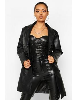 belted-oversize-pu-jacket by boohoo