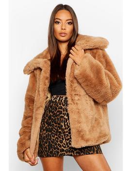 Collared Faux Fur Crop Jacket by Boohoo