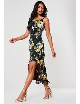 Black Floral Print Cami Midi Dress by Missguided