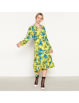 Yellow Floral 'shadow' Midi Wrap Dress by Studio By Preen
