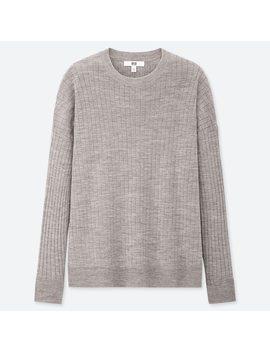 Women Merino Blend Ribbed Oversized Crew Neck Sweater by Uniqlo