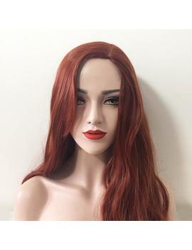Women Auburn Red Tone Brown Deep Side Part Wavy Long Hair Casual Wig by Etsy