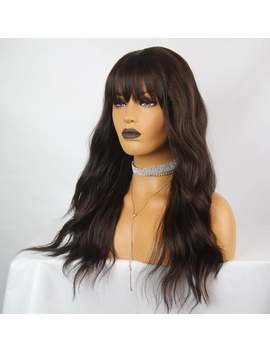 Chocolate Brown  | Long Wavy | Light Fringe/Bangs  Premium Synthetic Heat Safe Fibre Full Cap  Wig  by Etsy
