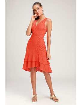 Radiant Ren Coral Orange Eyelet Ruffled Midi Dress by Lulus