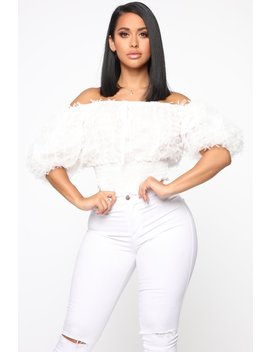 Miss Finesse Off Shoulder Top   White by Fashion Nova
