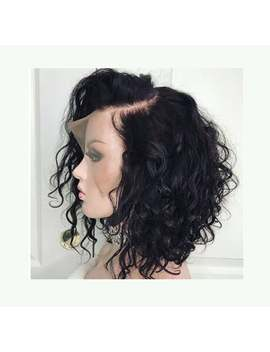 Curly Lace Front Human Hair Wigs  Pre Plucked With Full Frontal Baby Hair Remy Brazilian Hair Wavy Short Bob Wig by Etsy